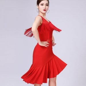 Fringe and lace dress for women in red