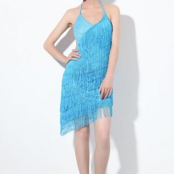 fringe party dress for women in turquoise