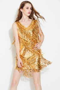 Gold sequin fringe dress for women