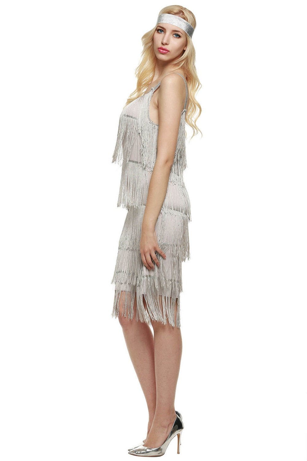 Grey fringe dress for women