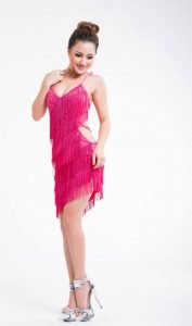 Hot pink fringe dress for women