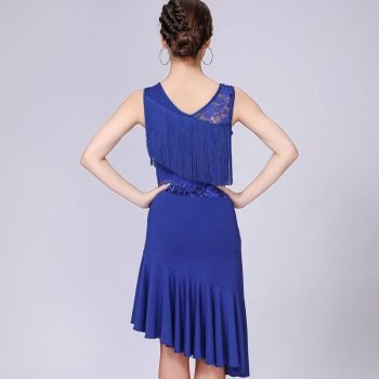lace and fringe dress for women in blue