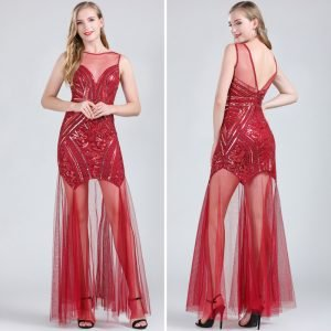 Red flapper dress costume for women