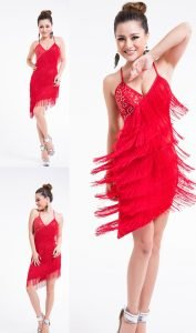 Red fringe cocktail dress for women