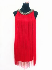 Red fringe dress for women