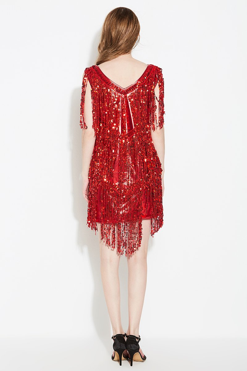 Red fringe mini dress for women