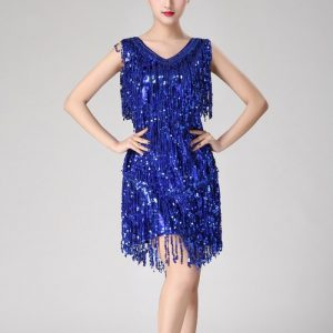 Royal blue tassel dress for women