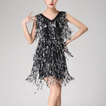 Sexy fringe dress for women in black