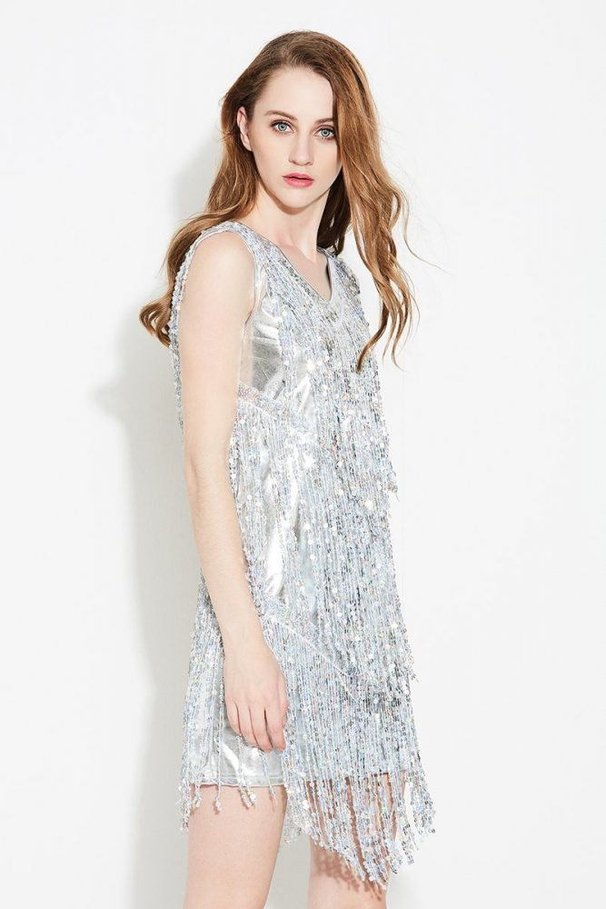 Silver sequin fringe dress for women