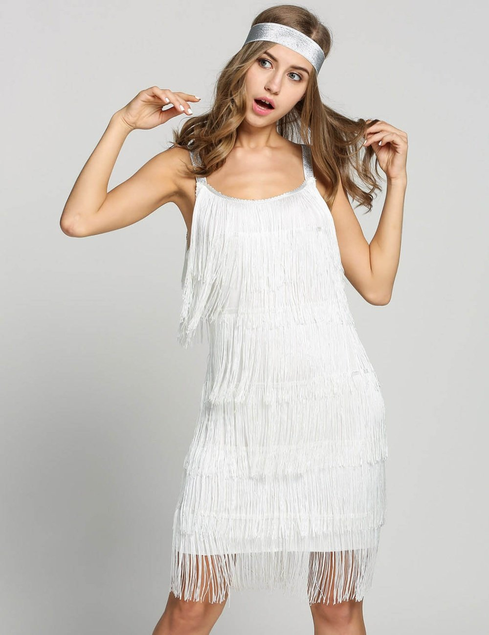 White fringe cocktail dress for women