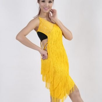 Yellow fringe dress for women