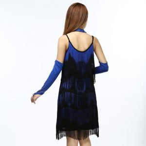 1920's fringe flapper dress for women in blue