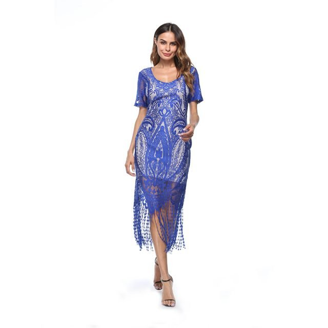 1920s flapper dress with sleeves in blue