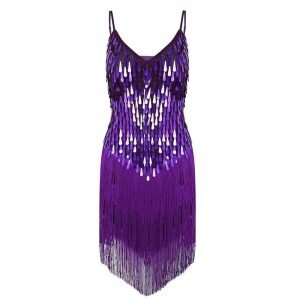 1920's purple flapper dress for women