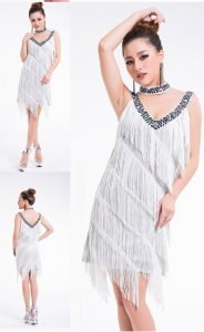 all white fringe dress for women