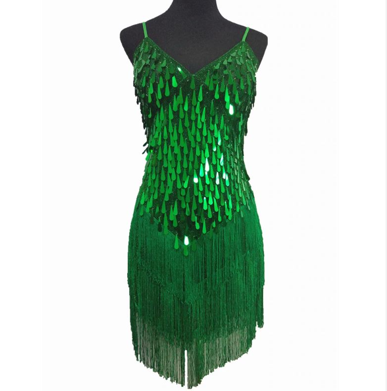 emerald green 1920s dress fr