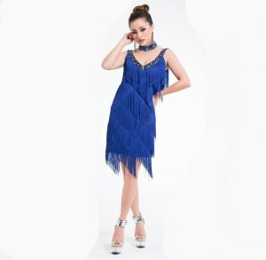 Fringe homecoming dress for women in blue