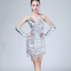 Retro flapper dress women in silver