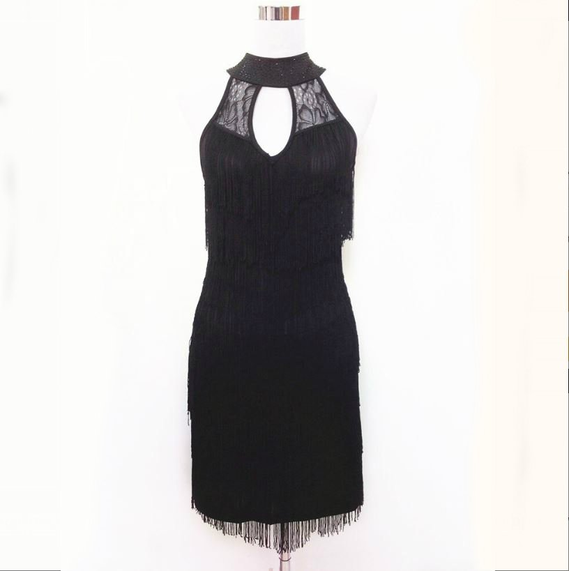 short black fringe dress for women