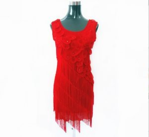 short dress with fringe in red