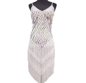white sequin flapper dress for women