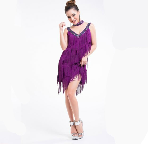womens fringe dress in purple
