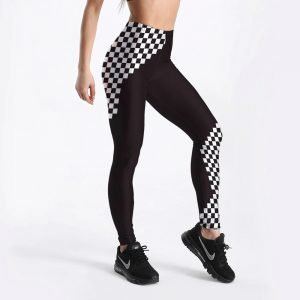 Black and white grid leggings S-4XL