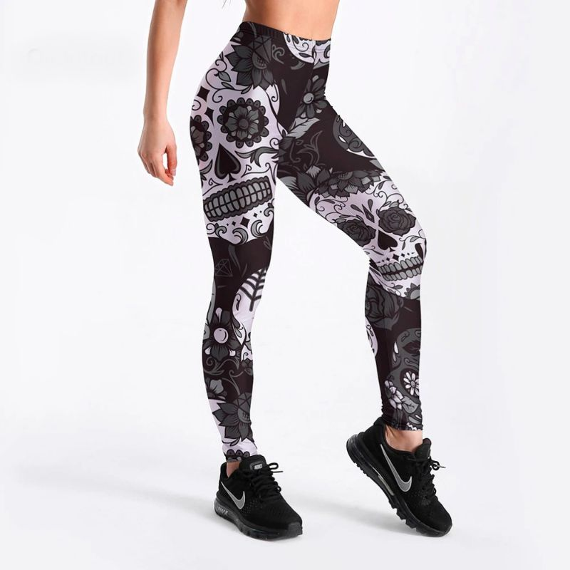 Black and white skull leggings S-4XL