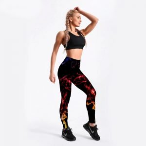 Flame print leggings for women S-4XL