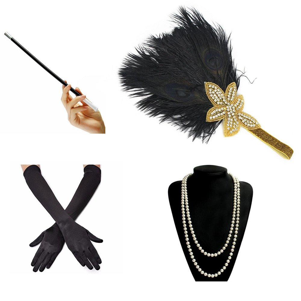 Flapper accessories set for women
