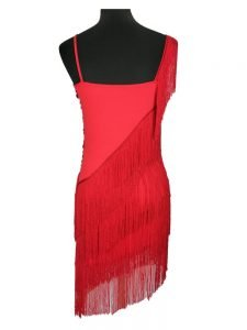 Fringe sexy dress for women in red