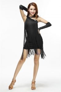 Fringe shorts outfit for women in black