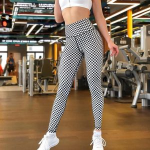 Grid print leggings for women XS-XL