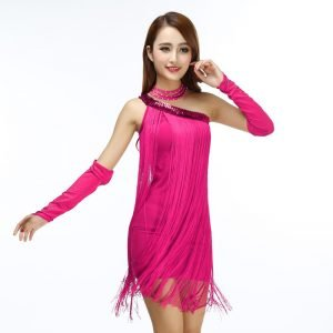 Pink dress with fringe for women