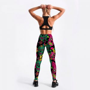 Skull and roses leggings plus size