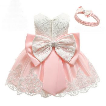 Baby pink lace dress up to age 24 months