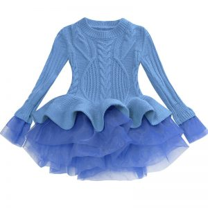 Little girl sweater dresses blue