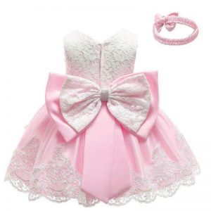 Pink lace baby dress