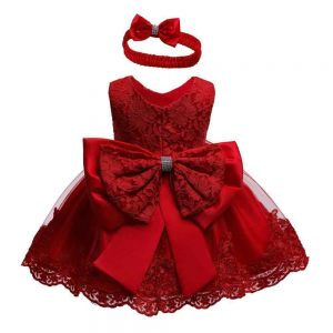 Red lace baby dress up to age 24 months