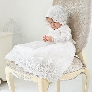White Long sleeve christening dress up to age 24 months