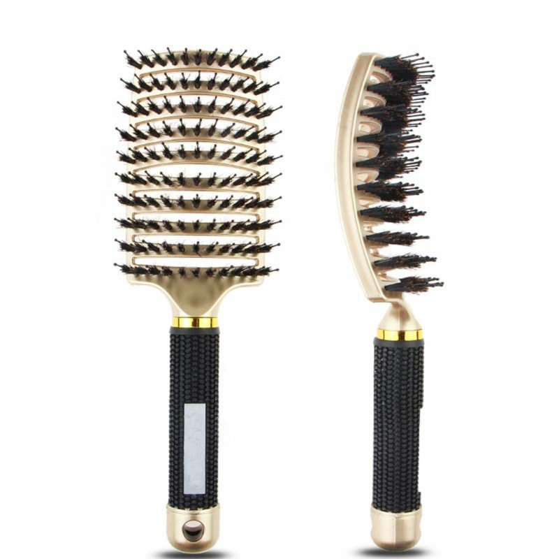 Gold bristle nylon hair brush