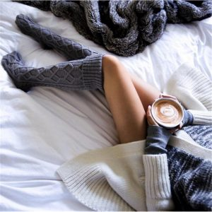 Knit over the knee thigh high socks