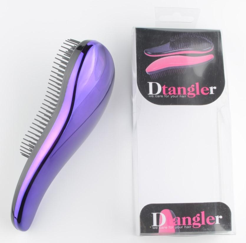 Purple anti tangle hair brush