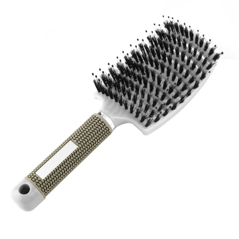 White boar bristle detangling brush