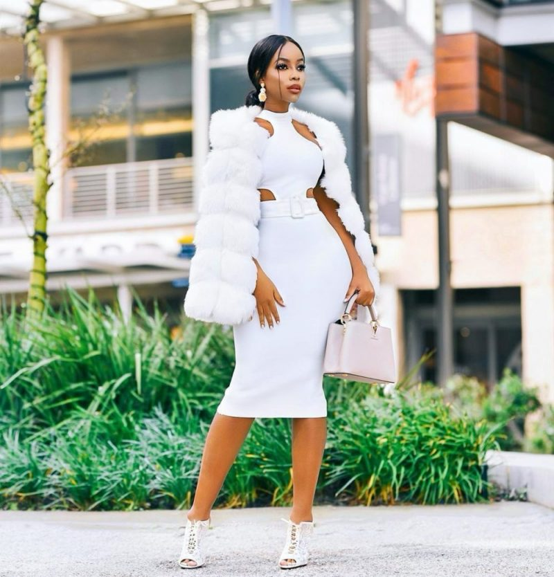 Mock neck white bandage midi dress