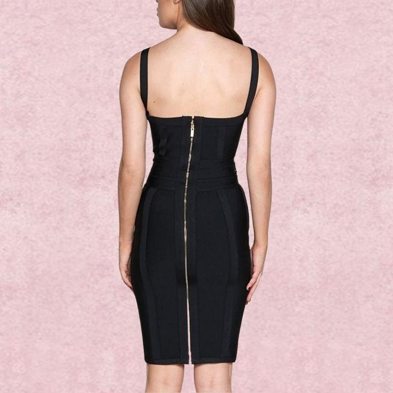 Black tie waist bandage dress